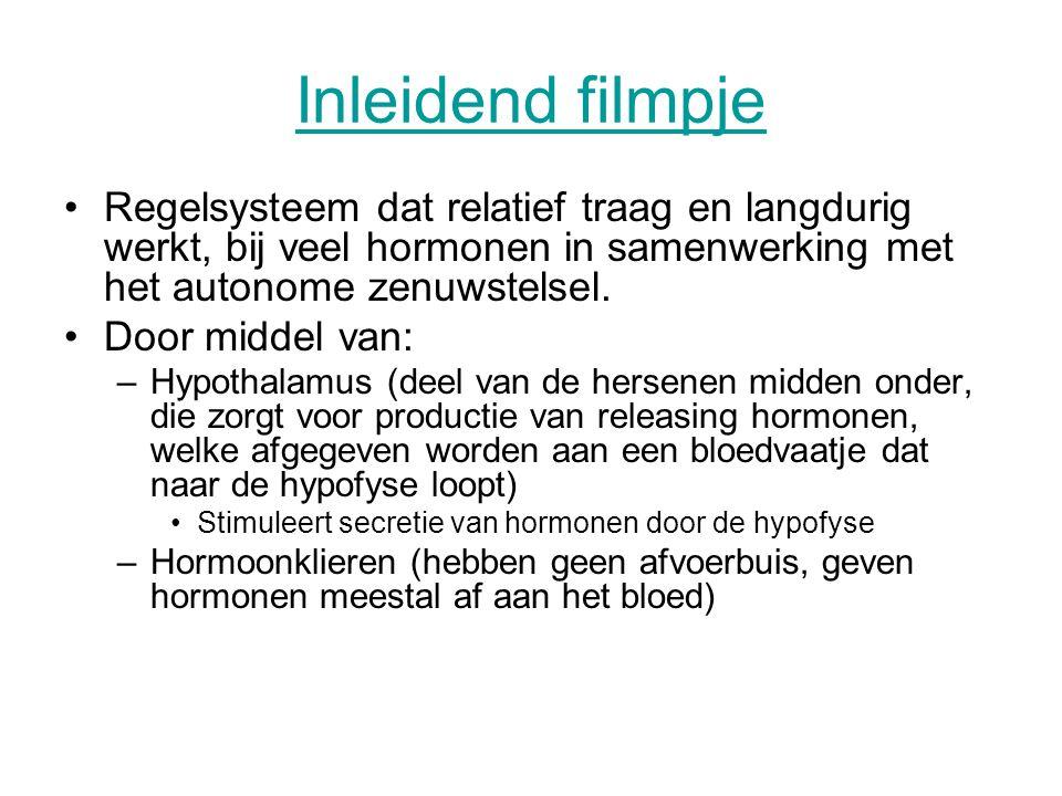 Inleidend filmpje Regelsysteem dat relatief traag en langdurig werkt, bij veel hormonen in samenwerking met het autonome zenuwstelsel. Door middel van