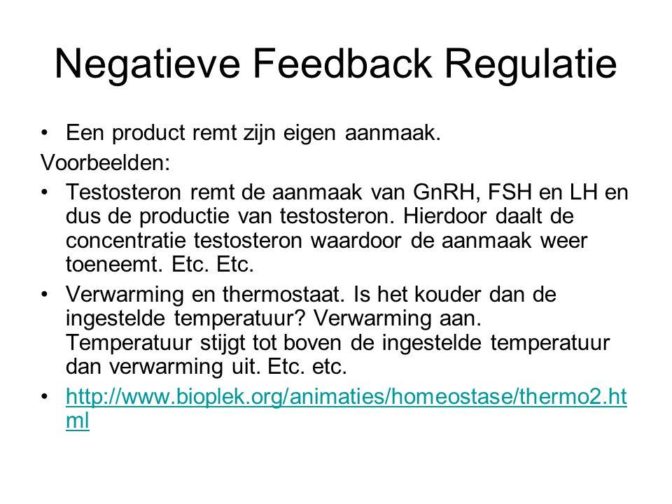 Negatieve Feedback Regulatie Een product remt zijn eigen aanmaak. Voorbeelden: Testosteron remt de aanmaak van GnRH, FSH en LH en dus de productie van