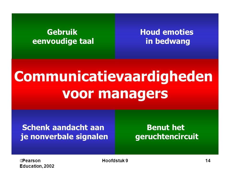  Pearson Education, 2002 Hoofdstuk 914 Benut het geruchtencircuit Schenk aandacht aan je nonverbale signalen Communicatievaardigheden voor managers H