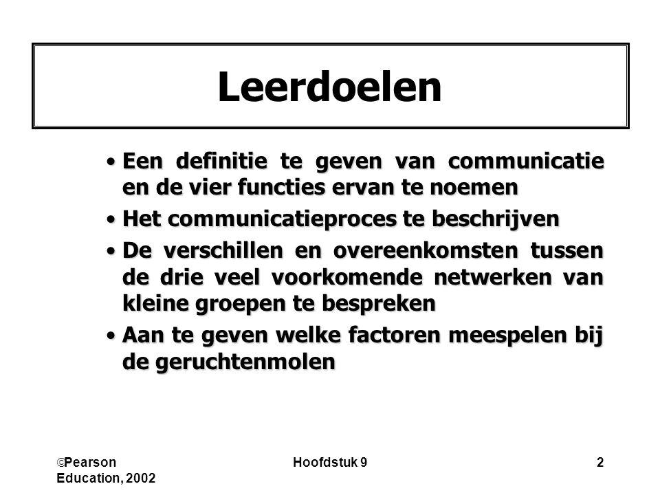  Pearson Education, 2002 Hoofdstuk 92 Leerdoelen Een definitie te geven van communicatie en de vier functies ervan te noemenEen definitie te geven va