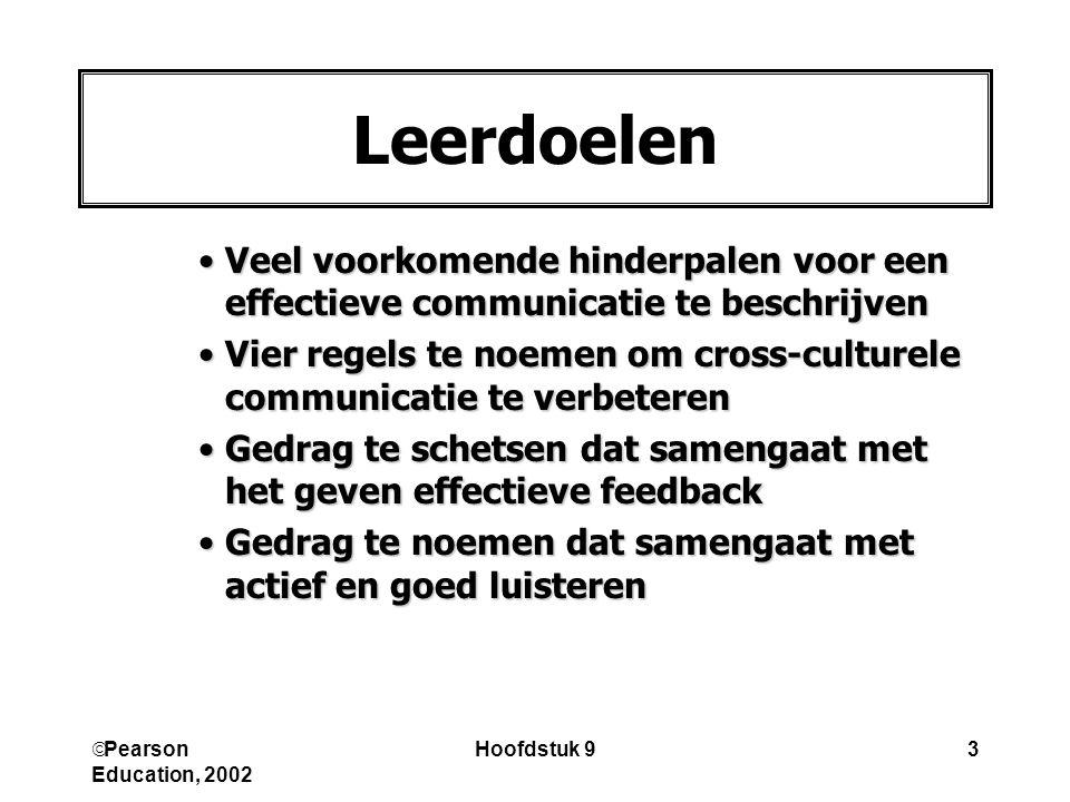 Pearson Education, 2002 Hoofdstuk 93 Veel voorkomende hinderpalen voor een effectieve communicatie te beschrijvenVeel voorkomende hinderpalen voor e