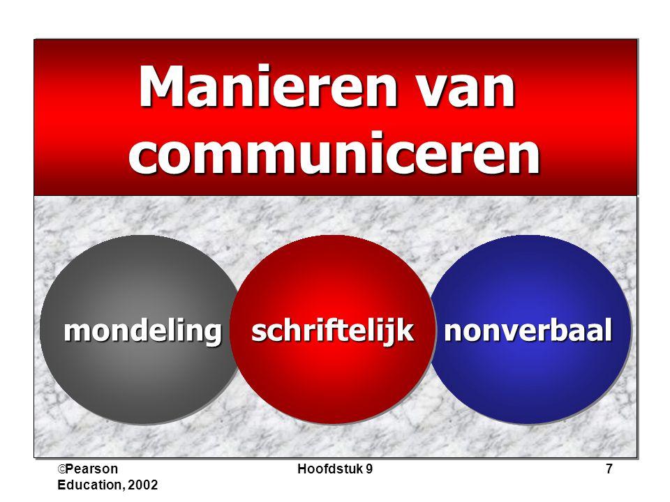  Pearson Education, 2002 Hoofdstuk 97 Manieren van communiceren communiceren mondelingmondelingnonverbaalnonverbaalschriftelijkschriftelijk