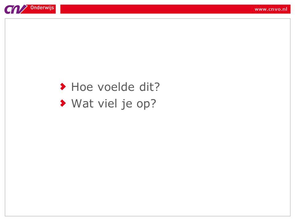 www.cnvo.nl Hoe voelde dit? Wat viel je op?
