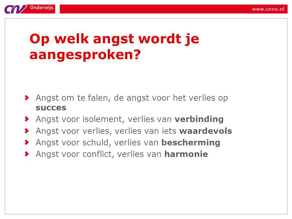 www.cnvo.nl Op welk angst wordt je aangesproken? Angst om te falen, de angst voor het verlies op succes Angst voor isolement, verlies van verbinding A