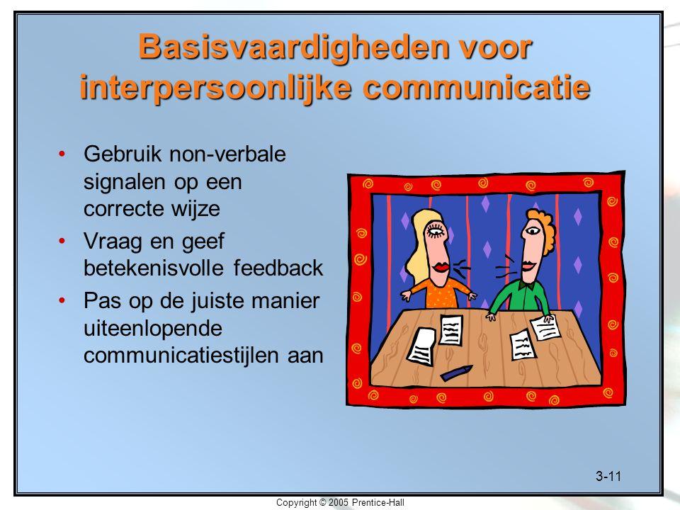 3-11 Copyright © 2005 Prentice-Hall Basisvaardigheden voor interpersoonlijke communicatie Gebruik non-verbale signalen op een correcte wijze Vraag en