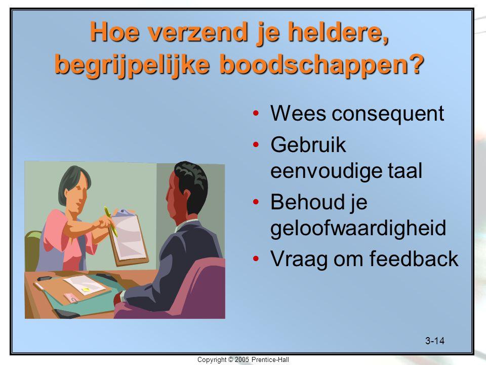 3-14 Copyright © 2005 Prentice-Hall Hoe verzend je heldere, begrijpelijke boodschappen? Wees consequent Gebruik eenvoudige taal Behoud je geloofwaardi