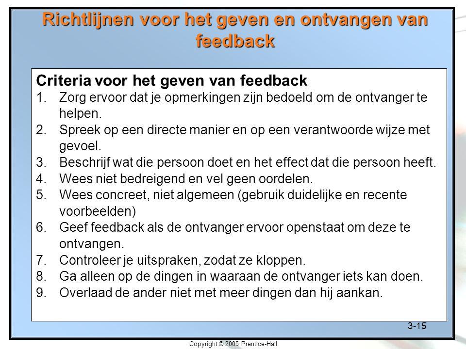 3-15 Copyright © 2005 Prentice-Hall Richtlijnen voor het geven en ontvangen van feedback Criteria voor het geven van feedback 1.Zorg ervoor dat je opm