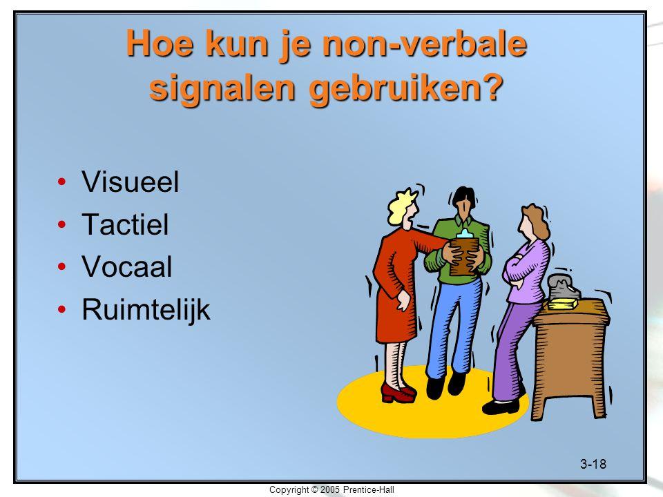 3-18 Copyright © 2005 Prentice-Hall Hoe kun je non-verbale signalen gebruiken? Visueel Tactiel Vocaal Ruimtelijk