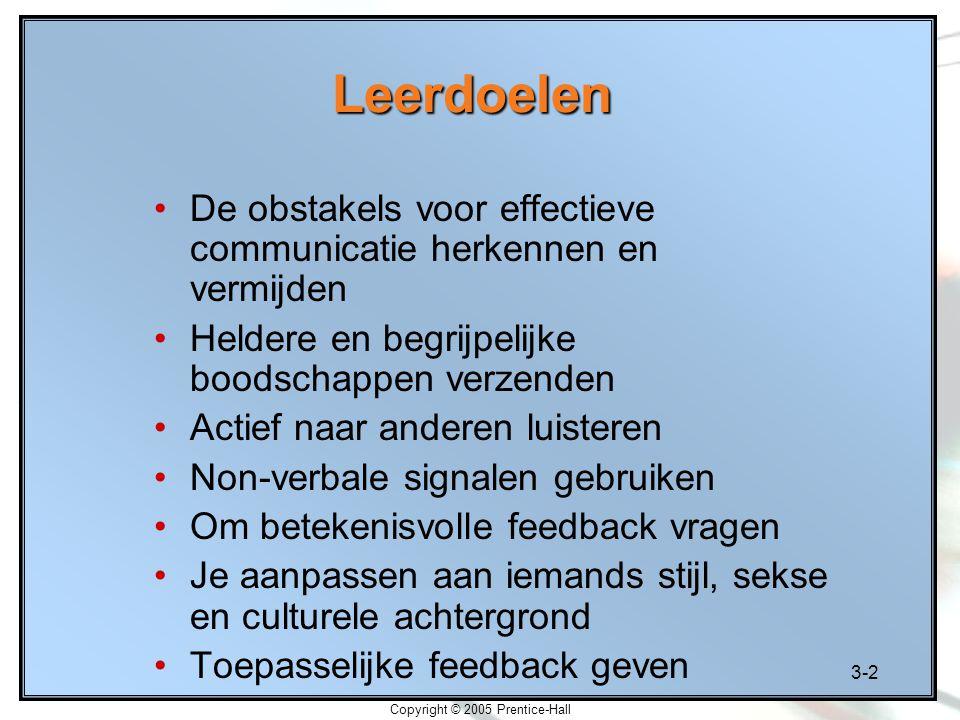 3-2 Copyright © 2005 Prentice-Hall Leerdoelen De obstakels voor effectieve communicatie herkennen en vermijden Heldere en begrijpelijke boodschappen v