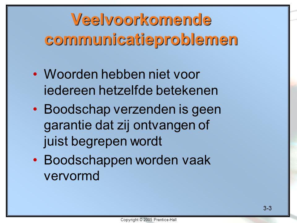 3-3 Copyright © 2005 Prentice-Hall Veelvoorkomende communicatieproblemen Woorden hebben niet voor iedereen hetzelfde betekenen Boodschap verzenden is