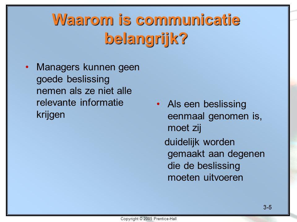 3-5 Copyright © 2005 Prentice-Hall Waarom is communicatie belangrijk? Managers kunnen geen goede beslissing nemen als ze niet alle relevante informati