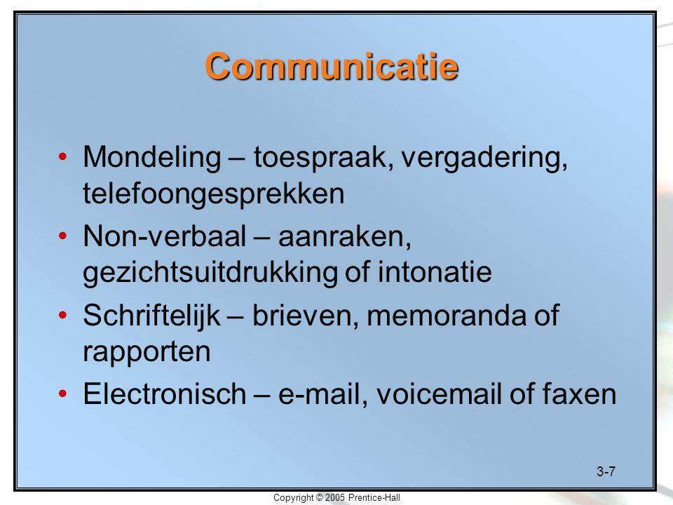 3-7 Copyright © 2005 Prentice-Hall Communicatie Mondeling – toespraak, vergadering, telefoongesprekken Non-verbaal – aanraken, gezichtsuitdrukking of