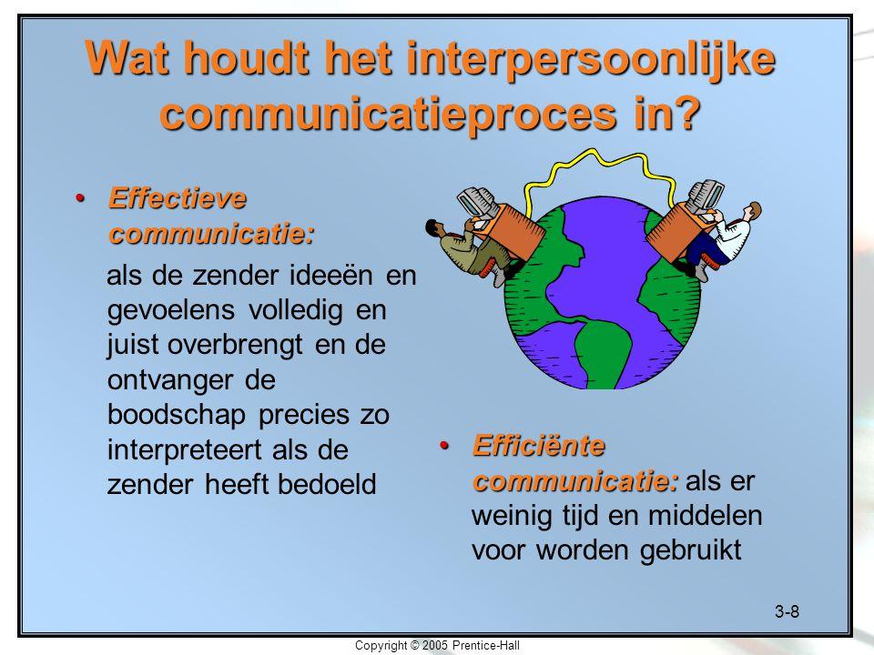 3-8 Copyright © 2005 Prentice-Hall Wat houdt het interpersoonlijke communicatieproces in? Effectieve communicatie:Effectieve communicatie: als de zend
