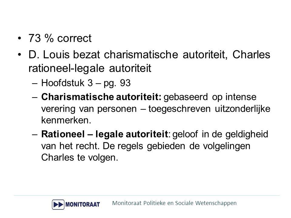 73 % correct D. Louis bezat charismatische autoriteit, Charles rationeel-legale autoriteit –Hoofdstuk 3 – pg. 93 –Charismatische autoriteit: gebaseerd