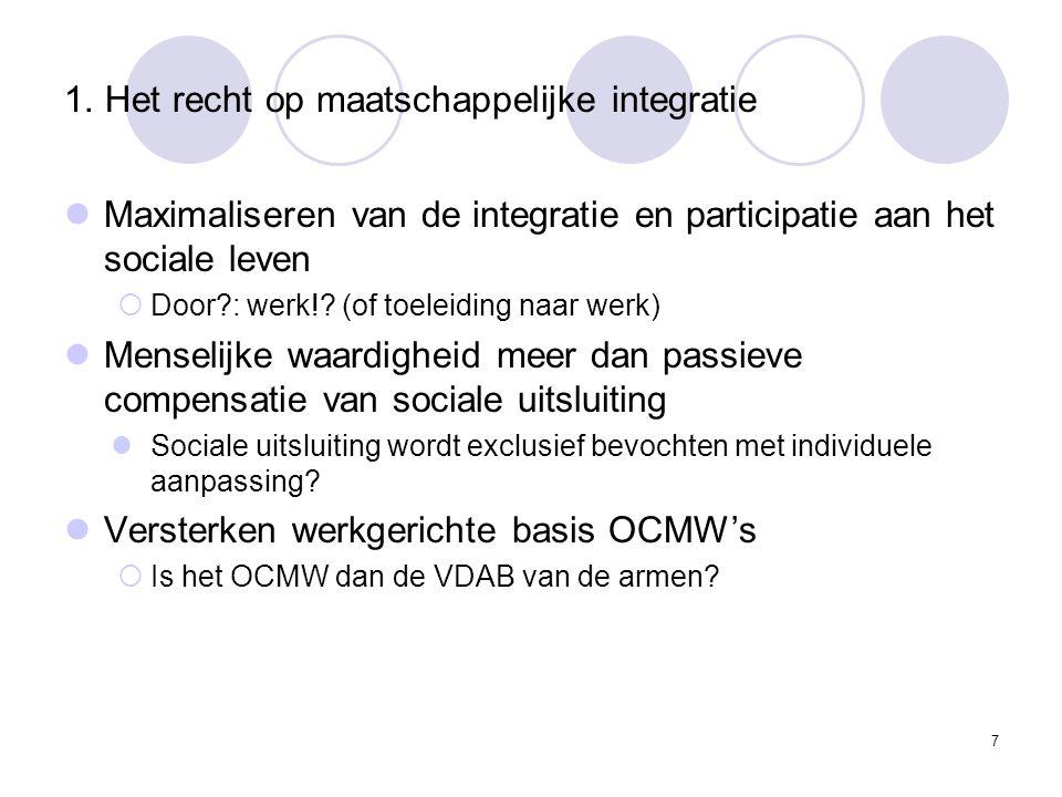 1. Het recht op maatschappelijke integratie Maximaliseren van de integratie en participatie aan het sociale leven  Door?: werk!? (of toeleiding naar