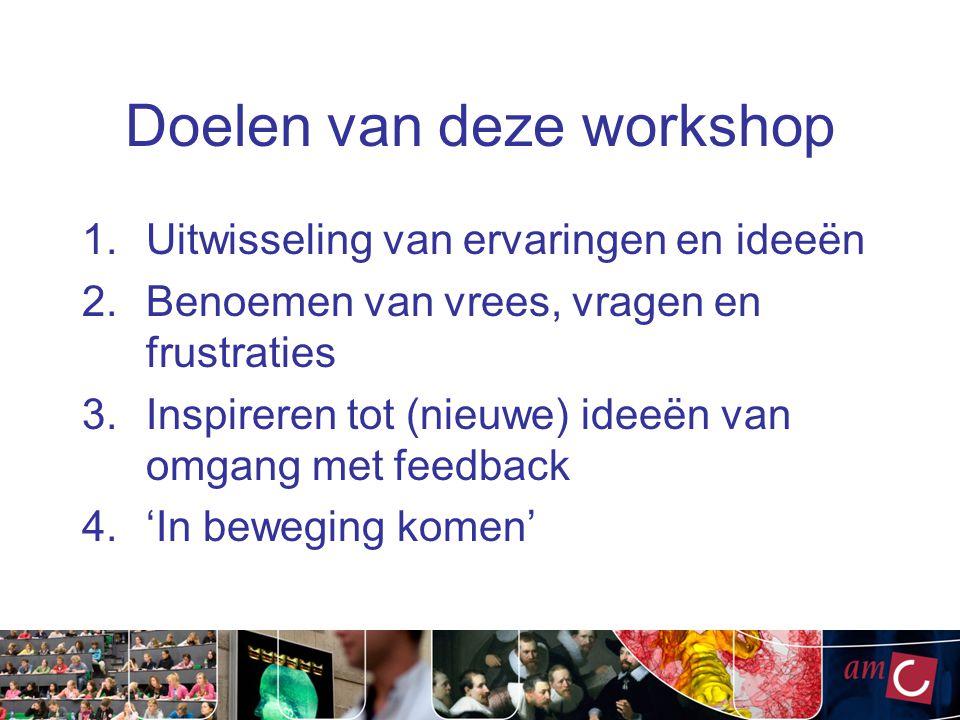 Doelen van deze workshop 1.Uitwisseling van ervaringen en ideeën 2.Benoemen van vrees, vragen en frustraties 3.Inspireren tot (nieuwe) ideeën van omga