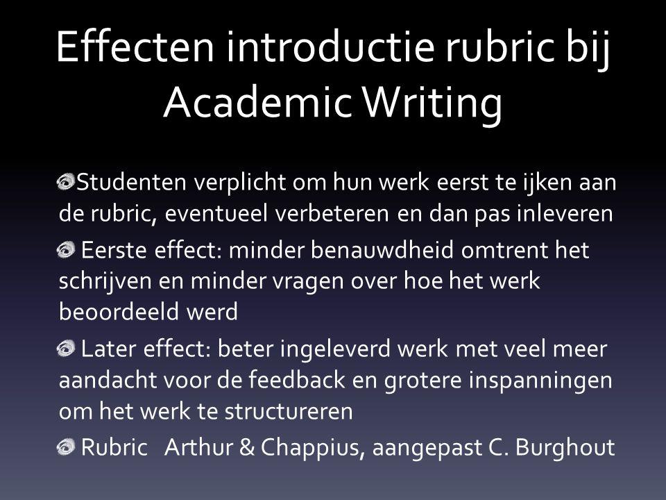Effecten introductie rubric bij Academic Writing Studenten verplicht om hun werk eerst te ijken aan de rubric, eventueel verbeteren en dan pas inlever