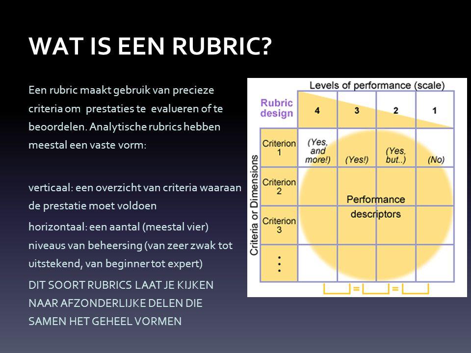 WAT IS EEN RUBRIC? Een rubric maakt gebruik van precieze criteria om prestaties te evalueren of te beoordelen. Analytische rubrics hebben meestal een