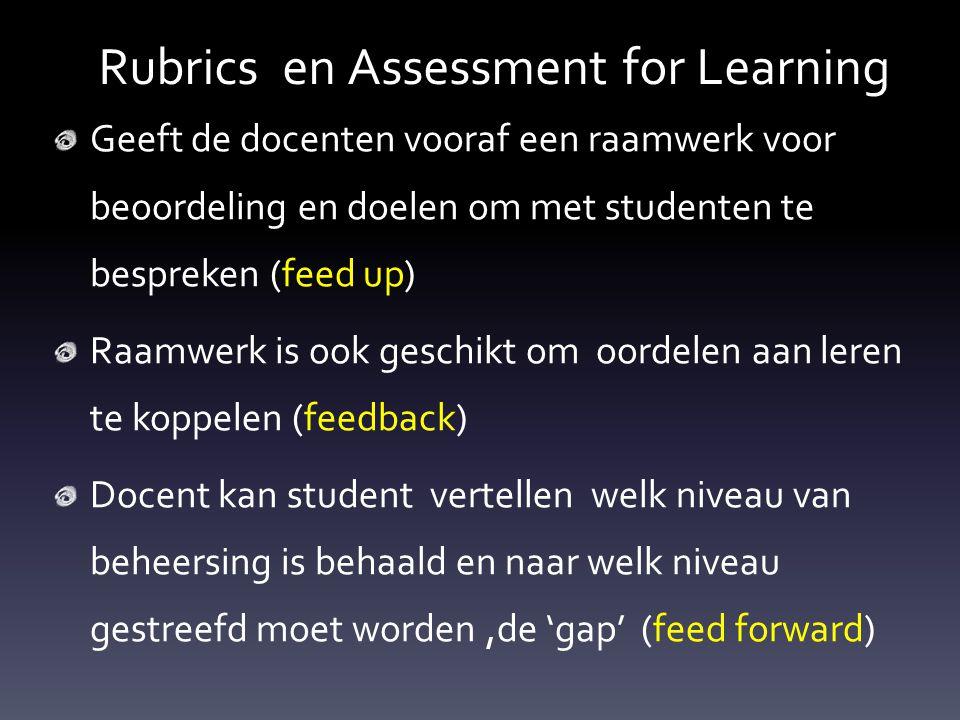 Rubrics en Assessment for Learning Geeft de docenten vooraf een raamwerk voor beoordeling en doelen om met studenten te bespreken (feed up) Raamwerk i