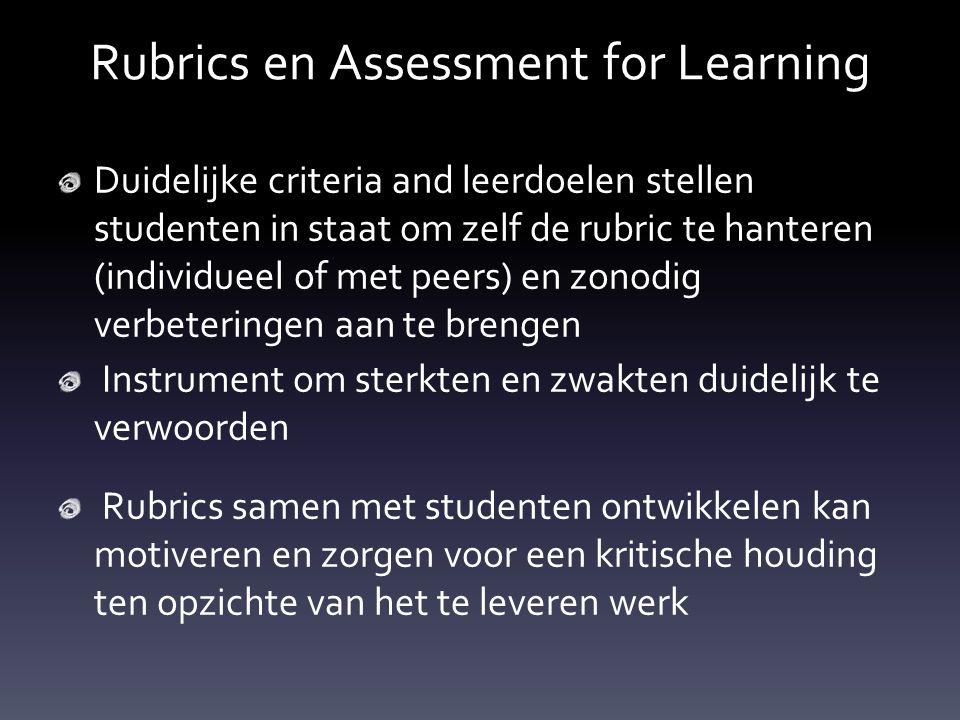 Rubrics en Assessment for Learning Duidelijke criteria and leerdoelen stellen studenten in staat om zelf de rubric te hanteren (individueel of met pee