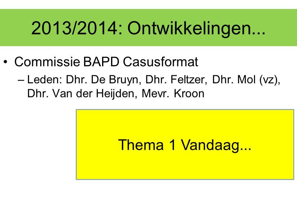 2013/2014: Ontwikkelingen... Commissie BAPD Casusformat –Leden: Dhr. De Bruyn, Dhr. Feltzer, Dhr. Mol (vz), Dhr. Van der Heijden, Mevr. Kroon Thema 1