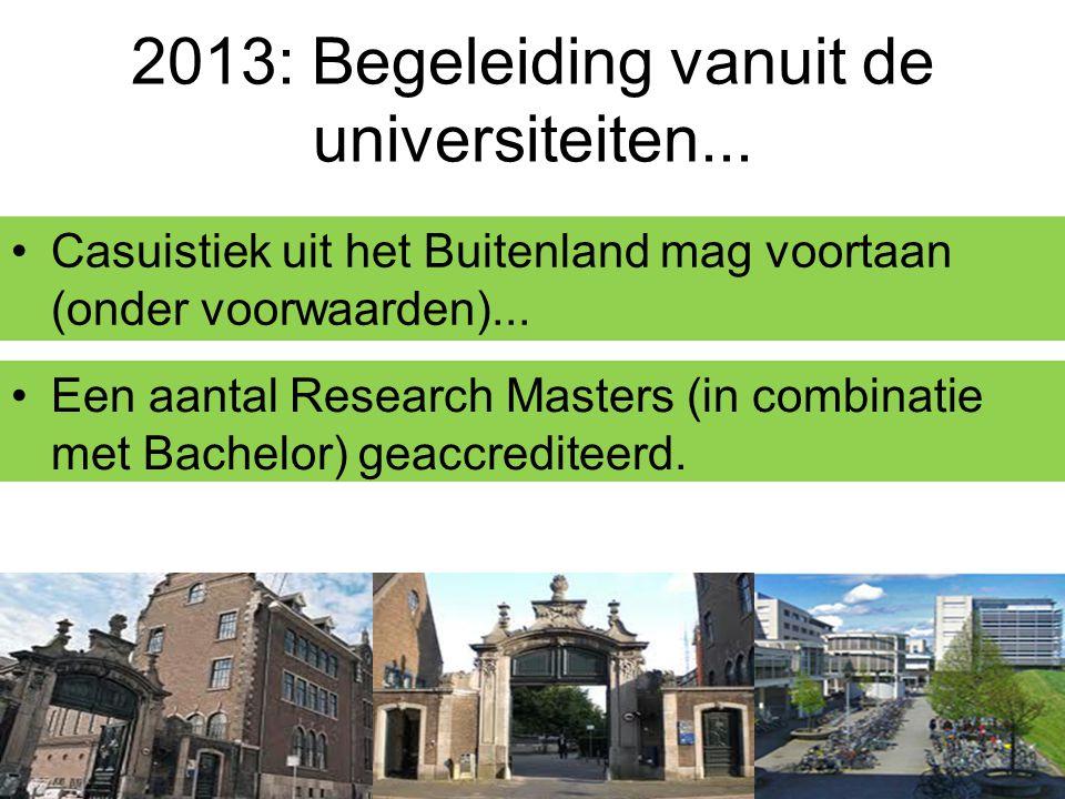 2013: Begeleiding vanuit de universiteiten... Casuistiek uit het Buitenland mag voortaan (onder voorwaarden)... Een aantal Research Masters (in combin