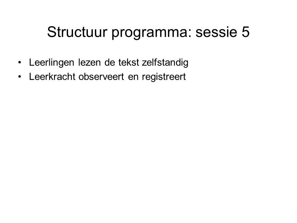 Structuur programma: sessie 5 Leerlingen lezen de tekst zelfstandig Leerkracht observeert en registreert