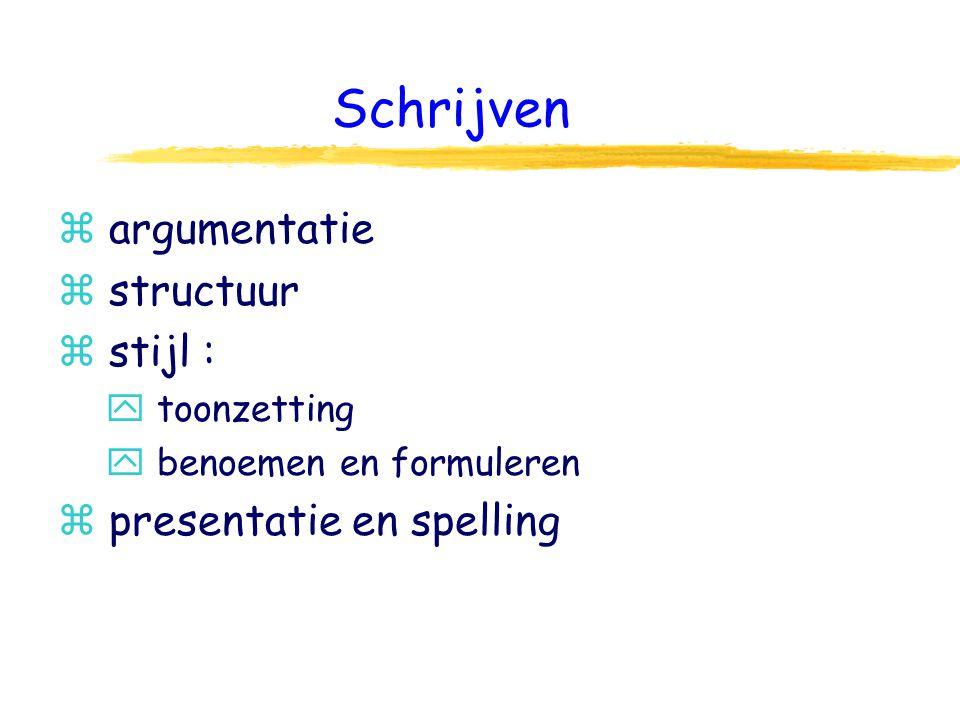 Schrijven z argumentatie z structuur z stijl : y toonzetting y benoemen en formuleren z presentatie en spelling