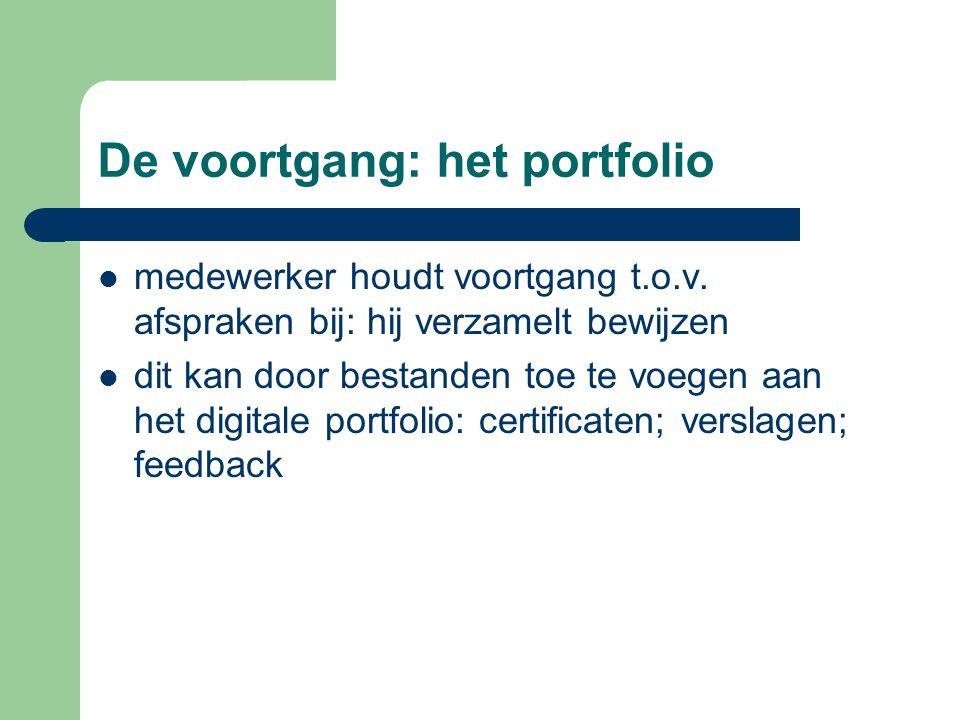 De voortgang: het portfolio medewerker houdt voortgang t.o.v.