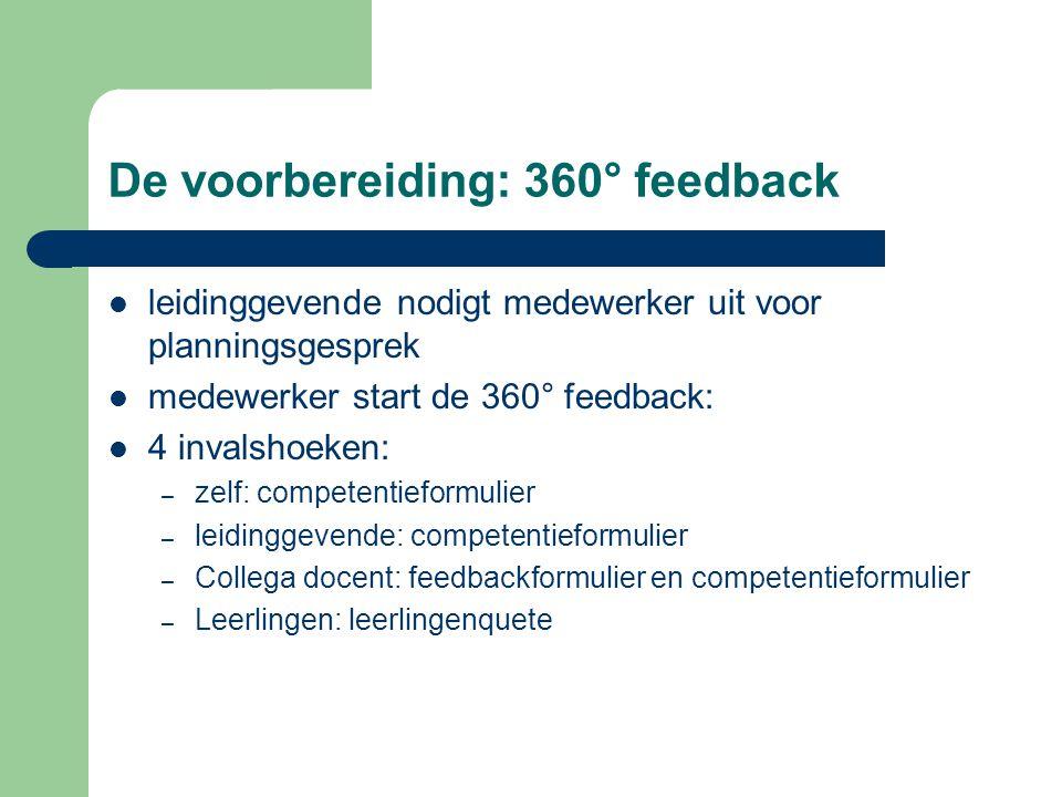 De voorbereiding: 360° feedback leidinggevende nodigt medewerker uit voor planningsgesprek medewerker start de 360° feedback: 4 invalshoeken: – zelf: competentieformulier – leidinggevende: competentieformulier – Collega docent: feedbackformulier en competentieformulier – Leerlingen: leerlingenquete