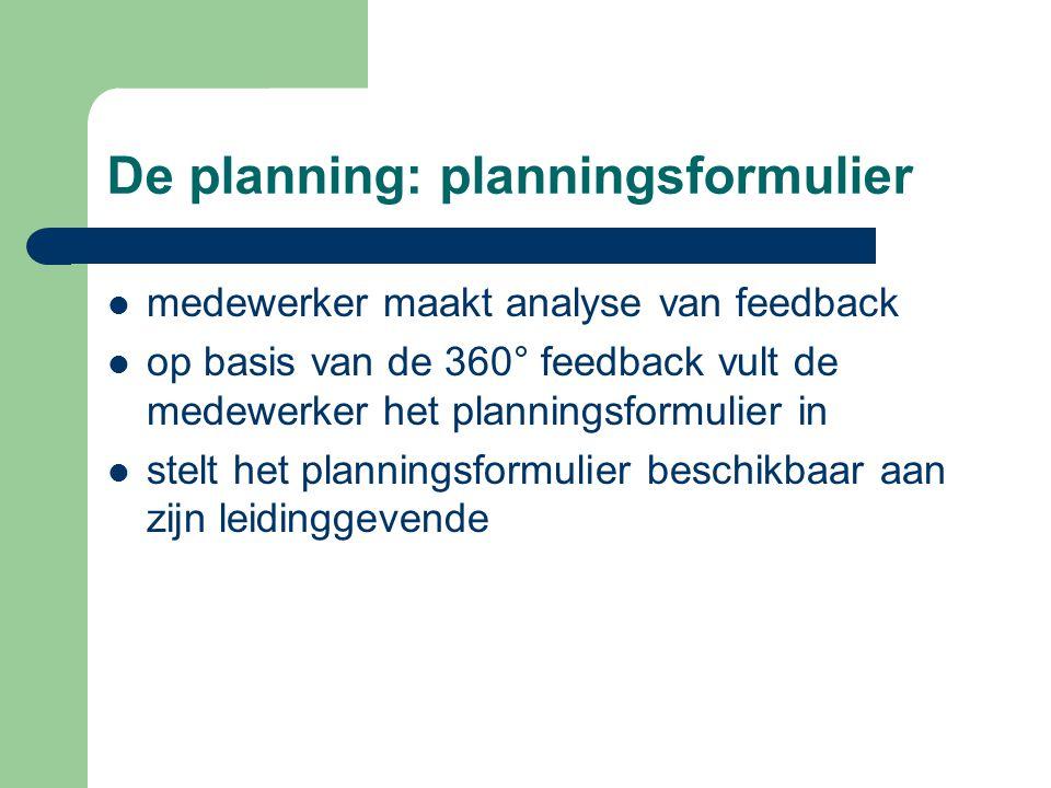 De planning: planningsformulier medewerker maakt analyse van feedback op basis van de 360° feedback vult de medewerker het planningsformulier in stelt het planningsformulier beschikbaar aan zijn leidinggevende