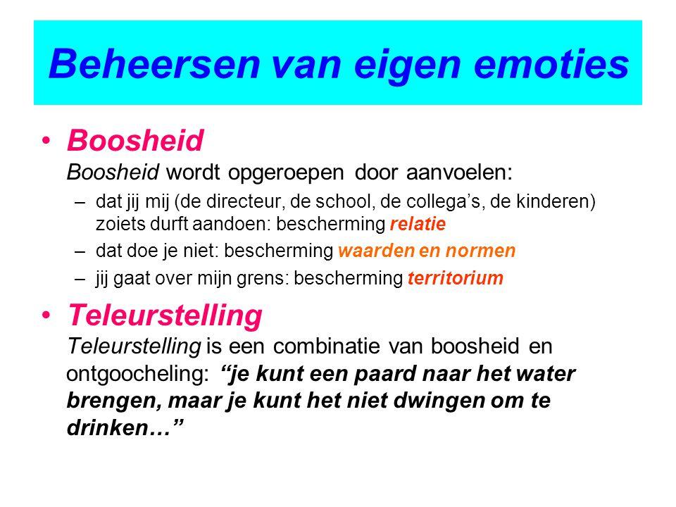 Beheersen van eigen emoties Boosheid Boosheid wordt opgeroepen door aanvoelen: –dat jij mij (de directeur, de school, de collega's, de kinderen) zoiet