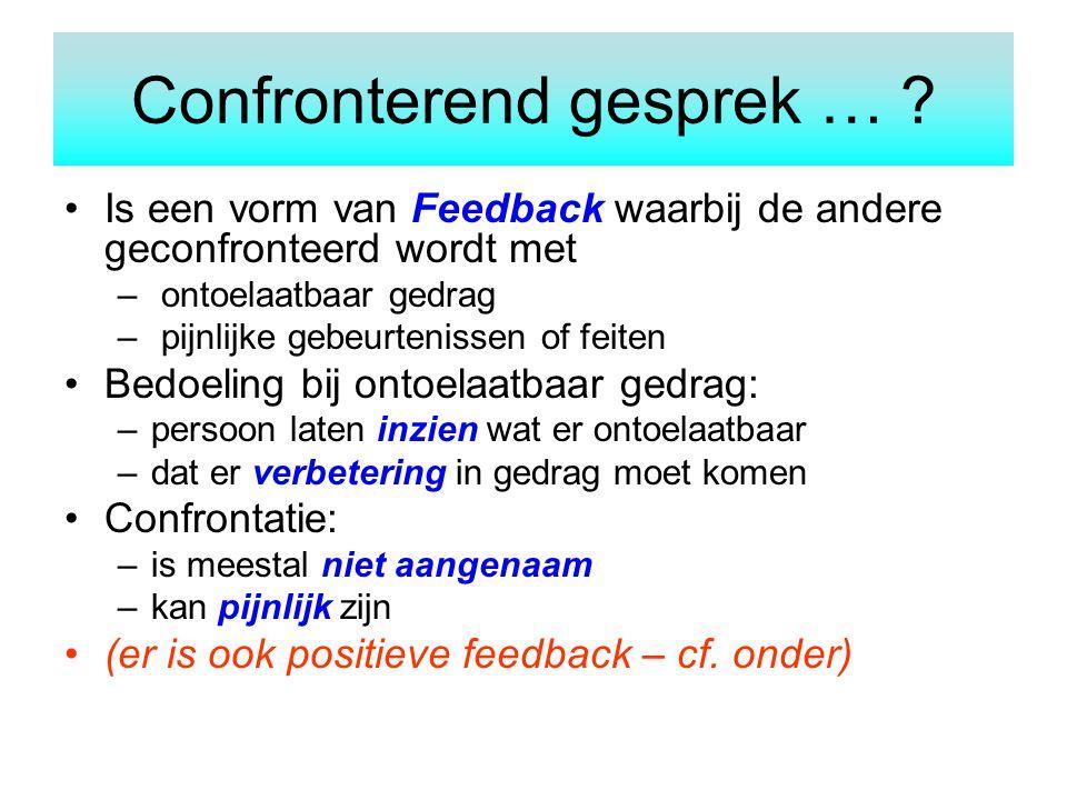 Confronterend gesprek … ? Is een vorm van Feedback waarbij de andere geconfronteerd wordt met – ontoelaatbaar gedrag – pijnlijke gebeurtenissen of fei