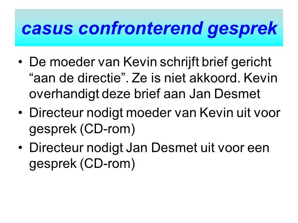 """De moeder van Kevin schrijft brief gericht """"aan de directie"""". Ze is niet akkoord. Kevin overhandigt deze brief aan Jan Desmet Directeur nodigt moeder"""