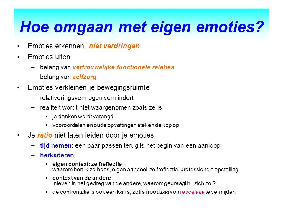 Hoe omgaan met eigen emoties? Emoties erkennen, niet verdringen Emoties uiten –belang van vertrouwelijke functionele relaties –belang van zelfzorg Emo