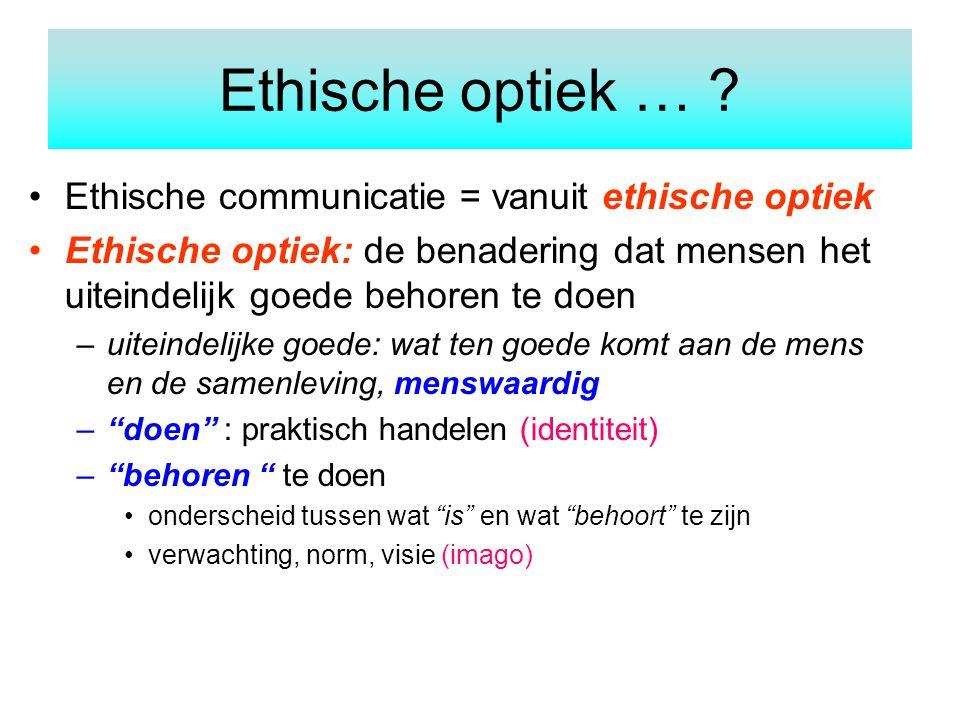 Ethische communicatie = vanuit ethische optiek Ethische optiek: de benadering dat mensen het uiteindelijk goede behoren te doen –uiteindelijke goede: