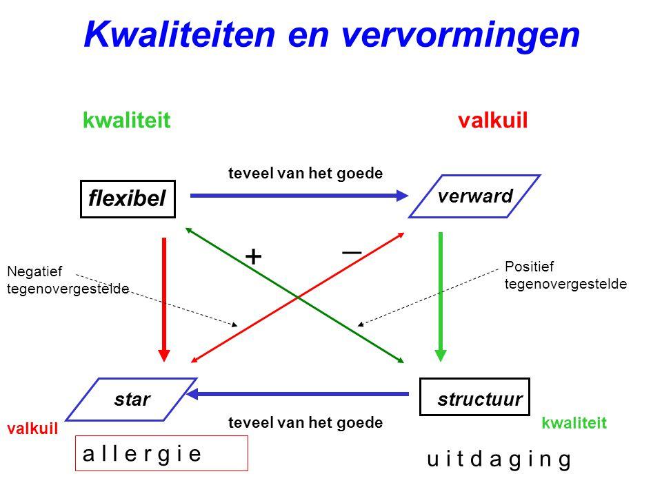 Kwaliteiten en vervormingen kwaliteitvalkuil flexibel verward starstructuur teveel van het goede Negatief tegenovergestelde Positief tegenovergestelde