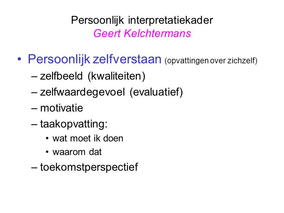 Persoonlijk interpretatiekader Geert Kelchtermans Persoonlijk zelfverstaan (opvattingen over zichzelf) –zelfbeeld (kwaliteiten) –zelfwaardegevoel (eva