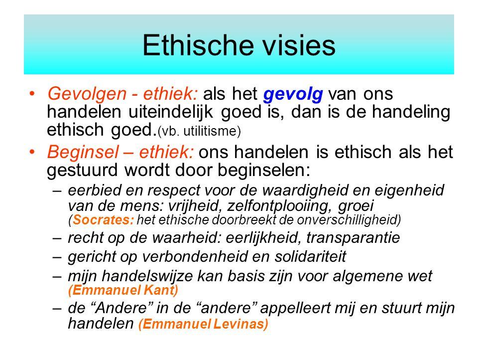Gevolgen - ethiek: als het gevolg van ons handelen uiteindelijk goed is, dan is de handeling ethisch goed. (vb. utilitisme) Beginsel – ethiek: ons han