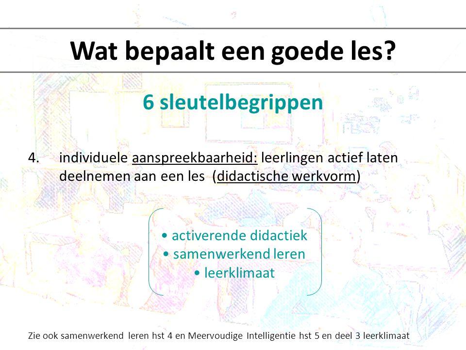 6 sleutelbegrippen 4.individuele aanspreekbaarheid: leerlingen actief laten deelnemen aan een les (didactische werkvorm) Zie ook samenwerkend leren hs