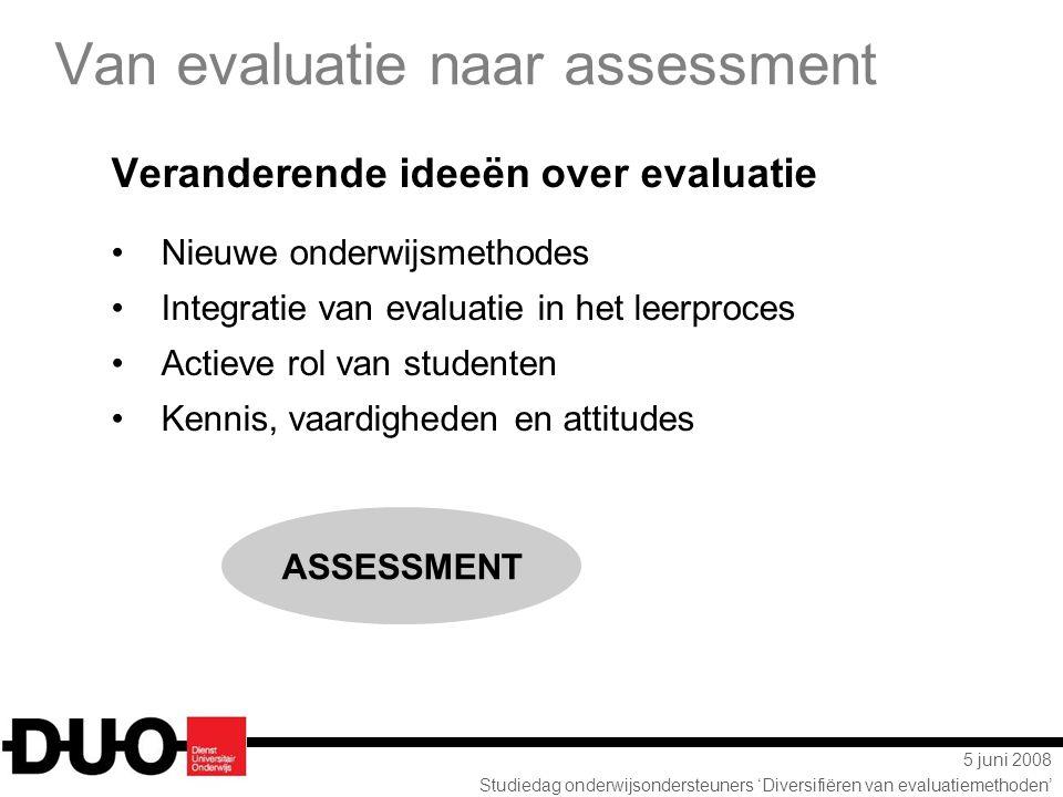 5 juni 2008 Studiedag onderwijsondersteuners 'Diversifiëren van evaluatiemethoden' Van evaluatie naar assessment Veranderende ideeën over evaluatie Ni