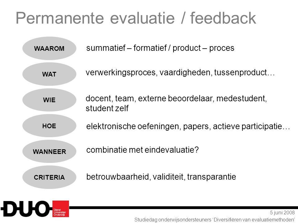 5 juni 2008 Studiedag onderwijsondersteuners 'Diversifiëren van evaluatiemethoden' summatief – formatief / product – proces verwerkingsproces, vaardig