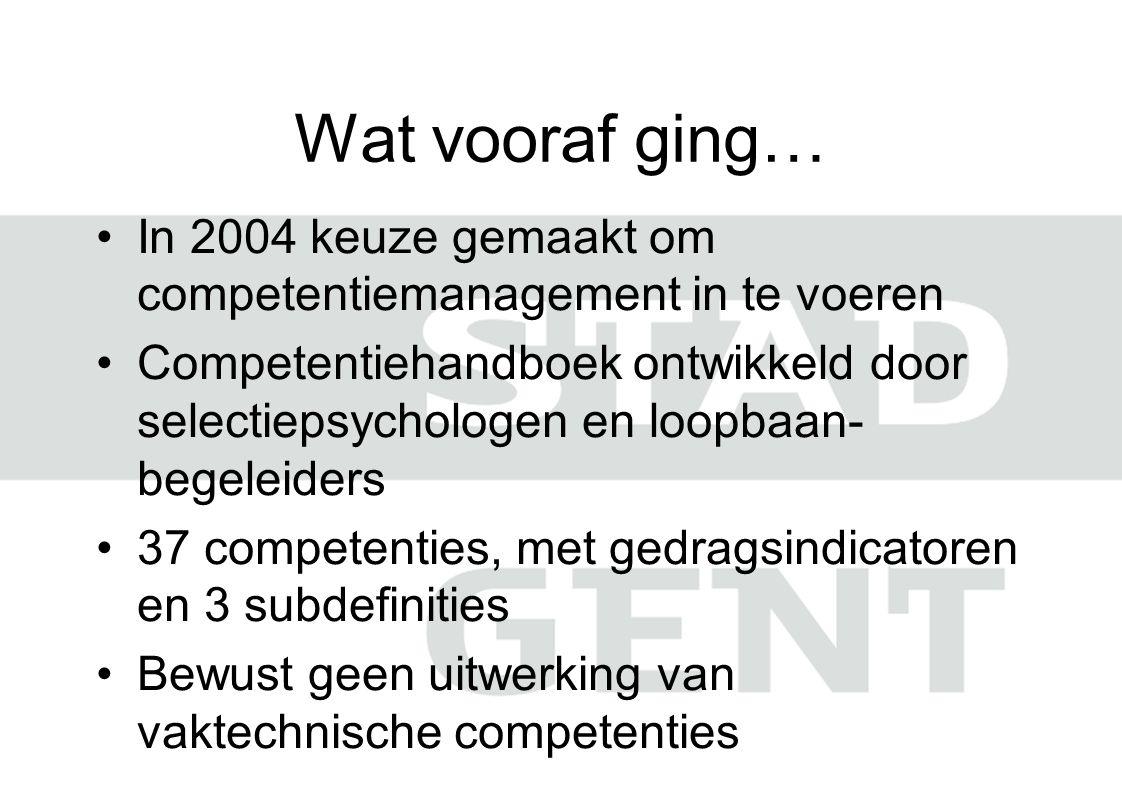 Wat vooraf ging… In 2004 keuze gemaakt om competentiemanagement in te voeren Competentiehandboek ontwikkeld door selectiepsychologen en loopbaan- bege