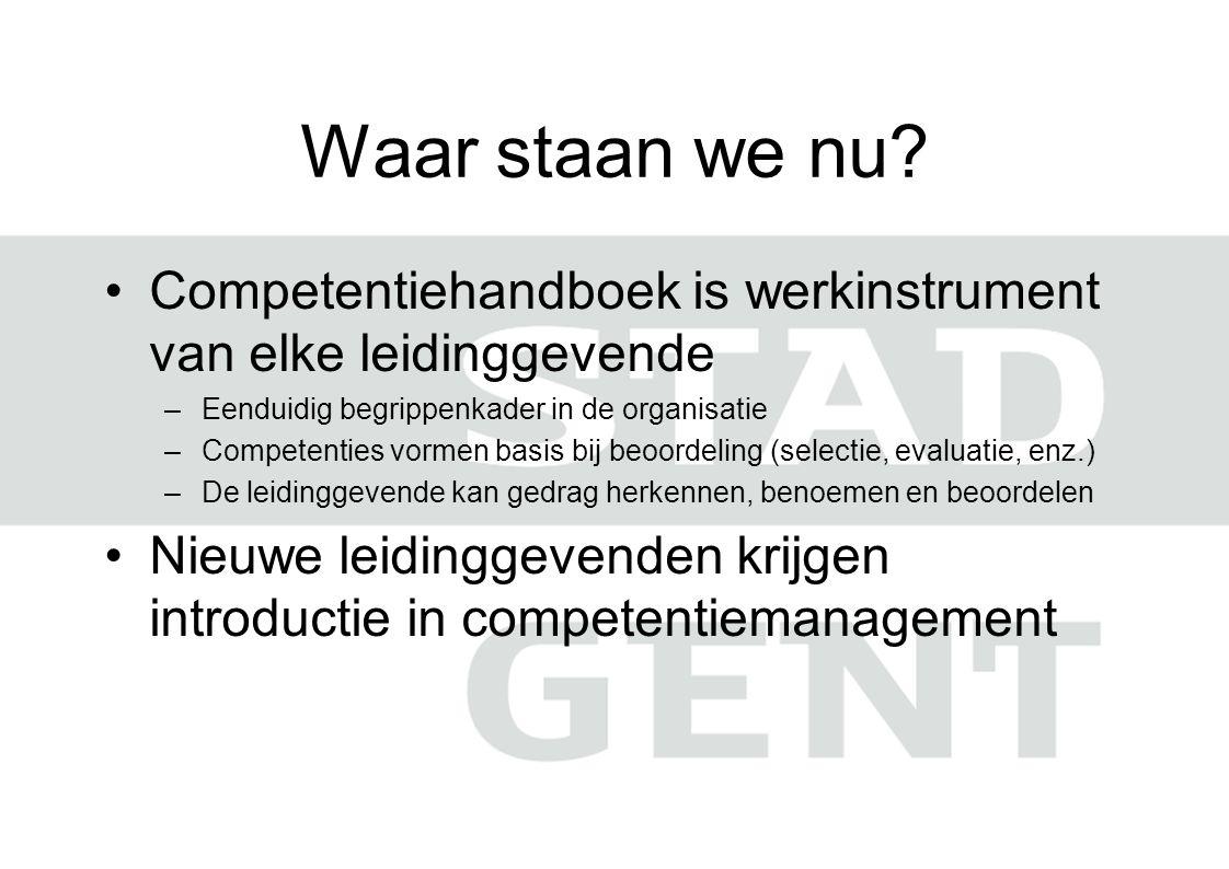 Waar staan we nu? Competentiehandboek is werkinstrument van elke leidinggevende –Eenduidig begrippenkader in de organisatie –Competenties vormen basis