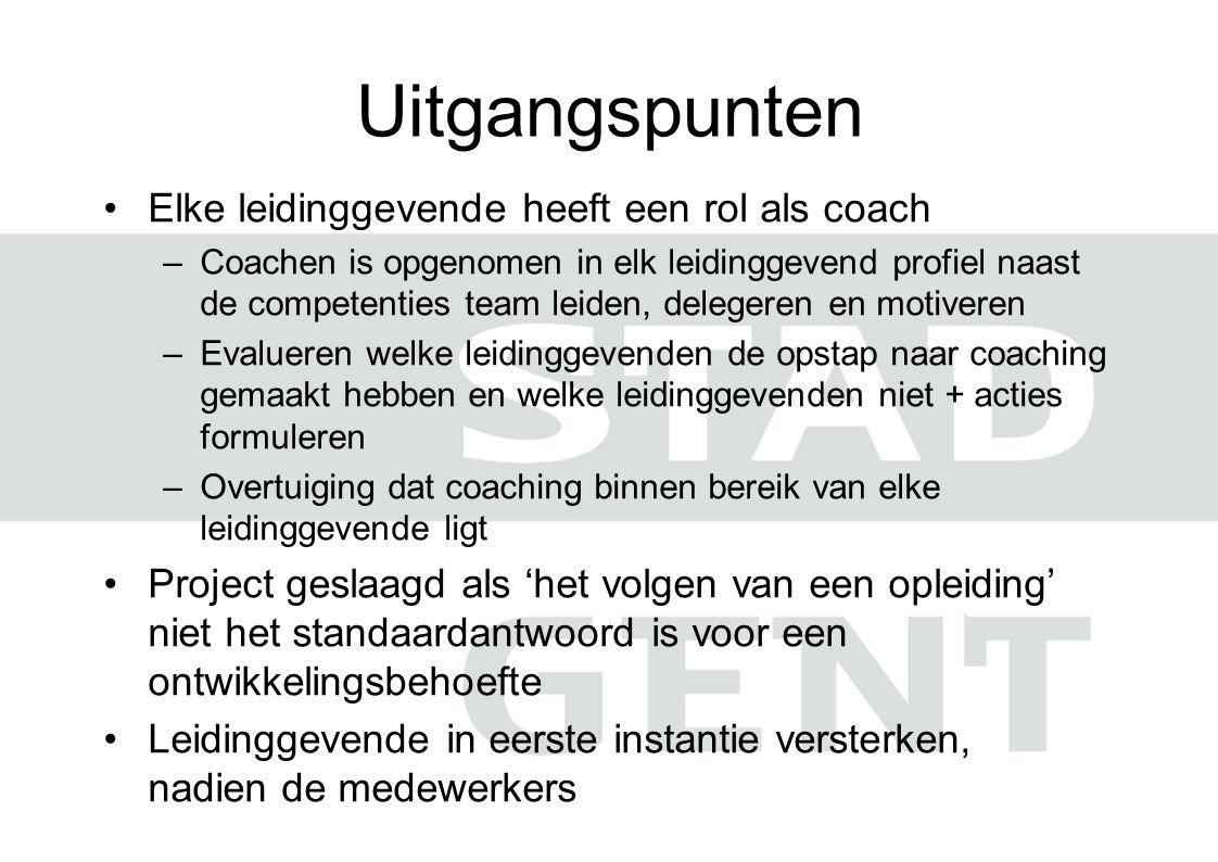 Uitgangspunten Elke leidinggevende heeft een rol als coach –Coachen is opgenomen in elk leidinggevend profiel naast de competenties team leiden, deleg