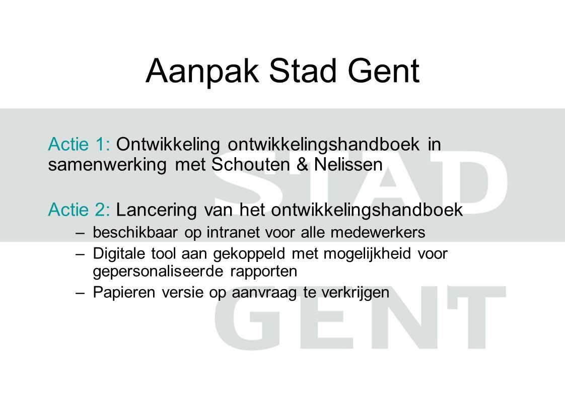Aanpak Stad Gent Actie 1: Ontwikkeling ontwikkelingshandboek in samenwerking met Schouten & Nelissen Actie 2: Lancering van het ontwikkelingshandboek