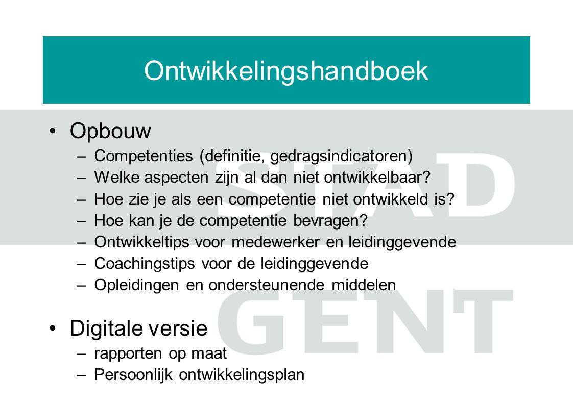 Ontwikkelingshandboek Opbouw –Competenties (definitie, gedragsindicatoren) –Welke aspecten zijn al dan niet ontwikkelbaar? –Hoe zie je als een compete