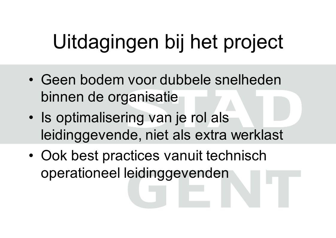 Uitdagingen bij het project Geen bodem voor dubbele snelheden binnen de organisatie Is optimalisering van je rol als leidinggevende, niet als extra werklast Ook best practices vanuit technisch operationeel leidinggevenden