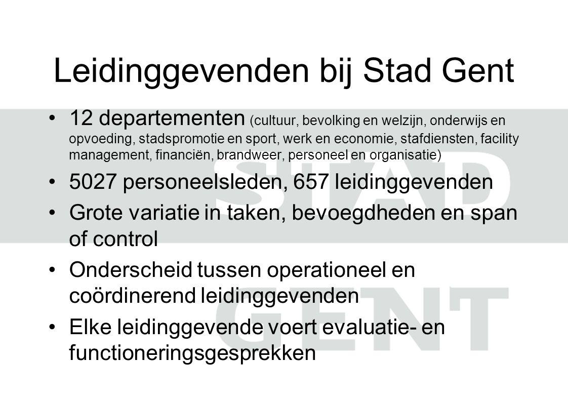 Leidinggevenden bij Stad Gent 12 departementen (cultuur, bevolking en welzijn, onderwijs en opvoeding, stadspromotie en sport, werk en economie, stafd