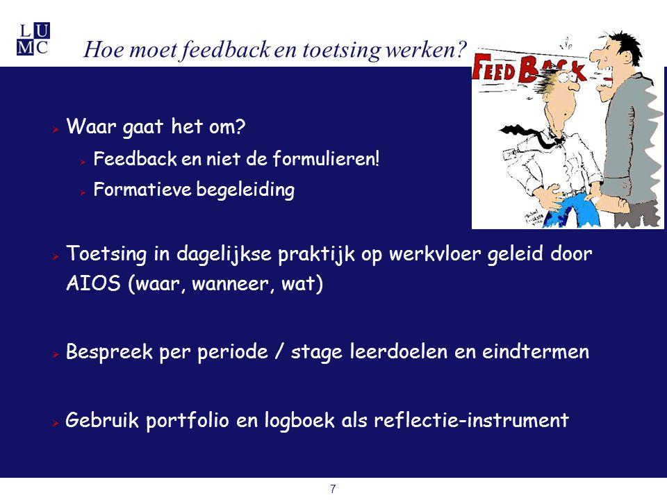 8 Paar aanwijzingen over feedback Laat de ontvangende partij eerst te spreken goed voor zelfkritiek en zelfrespect Niet globaal, maar specifiek oncollegiaal is minder goed dan toen niet bereid om dienst over te nemen Weeg positief met negatief Bij overwegend positief minder kans op verbetering, alleen negatief ontmoedigend Geef terugkoppeling op verbeterbare gedragingen Geef feedback ook in aanwezigheid derde Stop met feedback geven als het klaar is als overdrachten goed lopen, is het goed